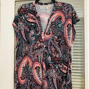 Dana Buchman SS top multi color paisley XL